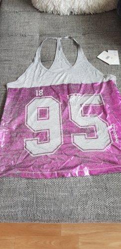 Reebok Koszulka o kroju podkreślającym sylwetkę jasnoszary-różowy