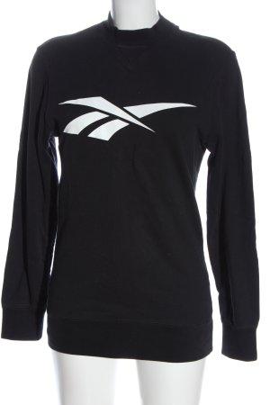 Reebok Suéter negro-blanco letras impresas look casual