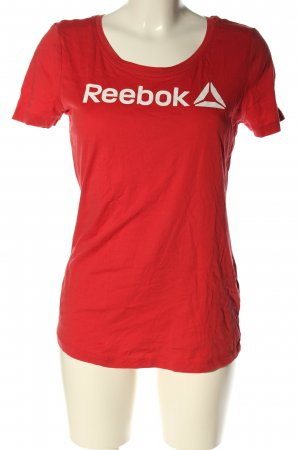 Reebok T-Shirt red-white printed lettering casual look