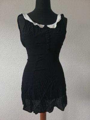 Reformation Bridget Dress Schwarz mit weißem Kragen
