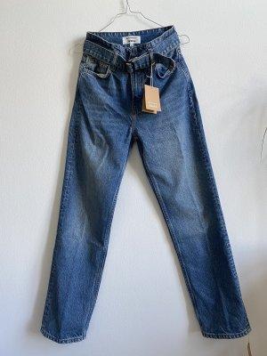 Reformation Jeans High Rise Straight Gr. 25 blau mit Gürtel