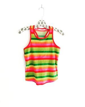 regenbogen farbenes shirt / samt / jersey / vintage / boxerausschnitt / hippie / festivallook / tank top