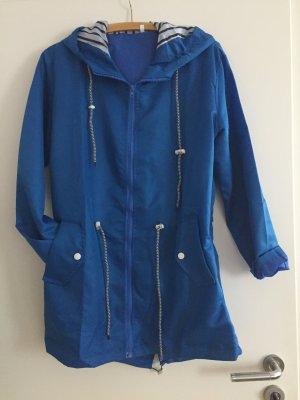 Płaszcz przeciwdeszczowy niebieski neonowy Tkanina z mieszanych włókien