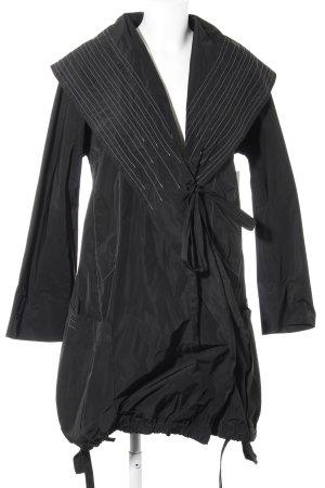 Manteau de pluie noir motif rayé style athlétique