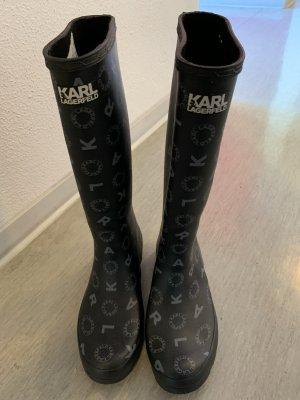 Karl Lagerfeld Wellington laarzen zwart-zilver