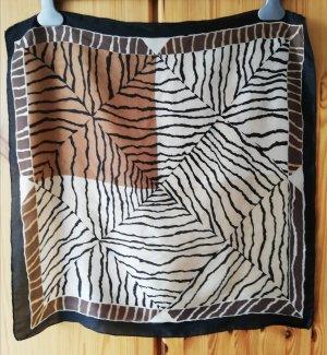 reinseidenes Nickituch mit Zebra-Print in Brauntönen, Hellbeige und Schwarz