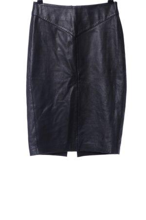 Reiss Falda de cuero negro estilo «business»