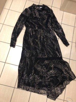 Reiss Luiza Spot Burnout Long Sleeve Dress, Black/White, Größe 42, kaum getragen
