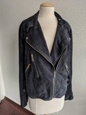 Reiss Leather Jacket dark blue leather