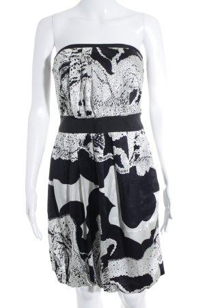 Reiss schulterfreies Kleid schwarz-weiß abstraktes Muster Elegant