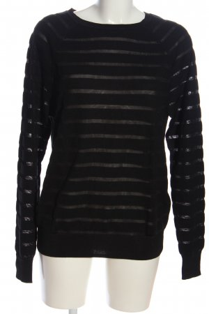 Reiss Knitted Sweater black striped pattern casual look