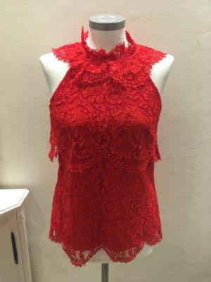 Reiss Lace Top red mixture fibre