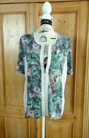 Reißverschluss-Shirt - Blumenmuster - Fabiani - Gr- 44