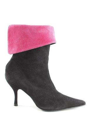 Reißverschluss-Stiefeletten schwarz-pink Casual-Look