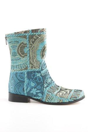 Reißverschluss-Stiefeletten türkis-kadettblau abstraktes Muster Casual-Look