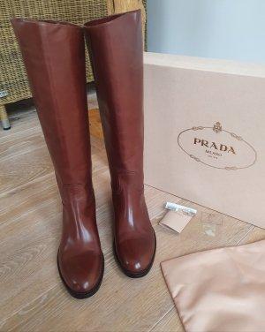 Prada Riding Boots brown-cognac-coloured