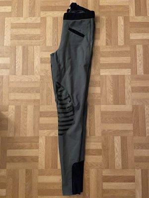 Reithose, HKM, grau mit schwarzem Kniebesatz
