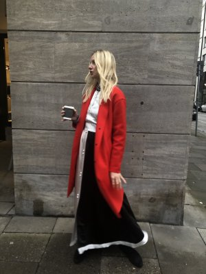 "Rejina pyo ""quinn"" Kleid Color Blocking Dress in Rot, Weiß, Schwarz Vintage UK 10 38"