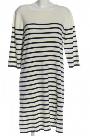 Reken Maar Gebreide jurk wit-zwart gestreept patroon casual uitstraling