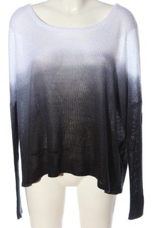 Religion Pull en crochet noir-blanc gradient de couleur style décontracté