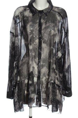 Religion Blouse-chemisier noir-gris clair motif abstrait élégant