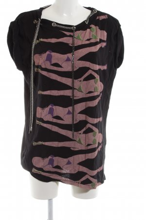 Religion Longshirt schwarz-pink Motivdruck Casual-Look