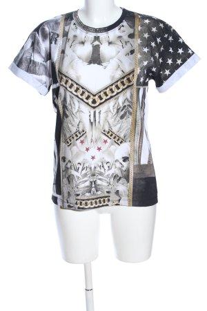 Religion Print-Shirt schwarz-weiß Allover-Druck Casual-Look