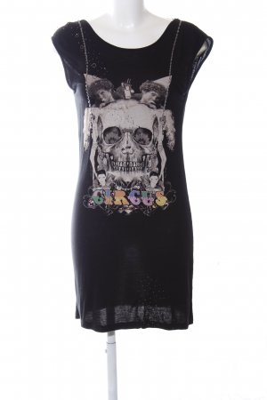 Religion Shirtkleid schwarz-hellgrau Motivdruck Party-Look