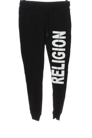 Religion Pantalon de sport noir-blanc lettrage imprimé style décontracté