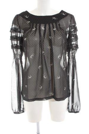 Relish Transparenz-Bluse weiß-schwarz Allover-Druck extravaganter Stil