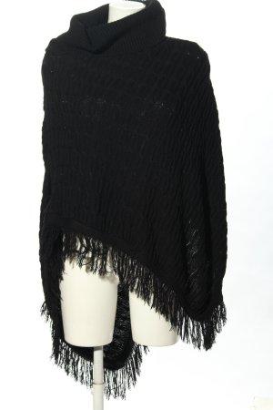 Remel London Poncho en tricot noir style décontracté