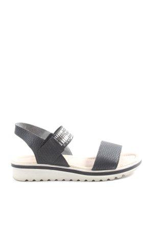 Remonte Komfort-Sandalen schwarz-silberfarben Allover-Druck Casual-Look