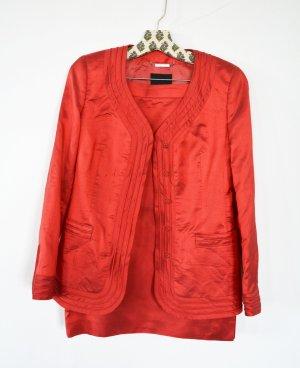 Rena Lange festliches Kostüm Rock Blazer 100% Wildseide Coral Rot