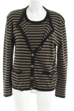 Rena Lange Jersey Twin Set schwarz-braun Streifenmuster Casual-Look
