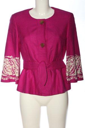 Rena Lange Kurz-Blazer pink-creme Blumenmuster Casual-Look