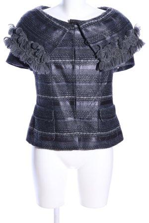 Rena Lange Cardigan a maniche corte grigio chiaro-nero puntinato elegante