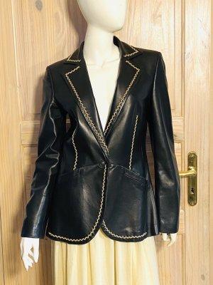 Rena Lange Leather Blazer black-camel leather