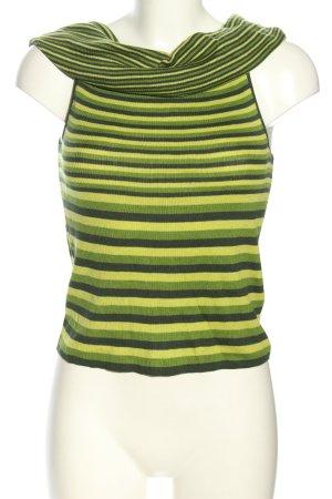 Rena Lange Rippshirt grün-schwarz Streifenmuster Casual-Look