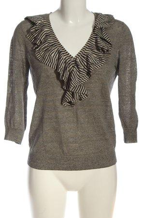 Rena Lange Rüschen-Bluse schwarz-nude Streifenmuster Casual-Look