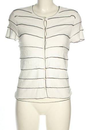 Rena Lange Twin Set tejido blanco-negro estampado a rayas look casual