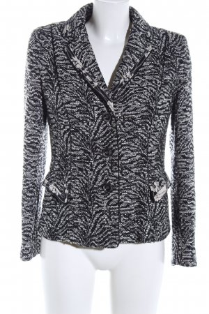 Rena Lange Chaqueta de lana negro-blanco estampado con diseño abstracto