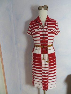 Rena Marx Shortsleeve Dress carmine-white cotton