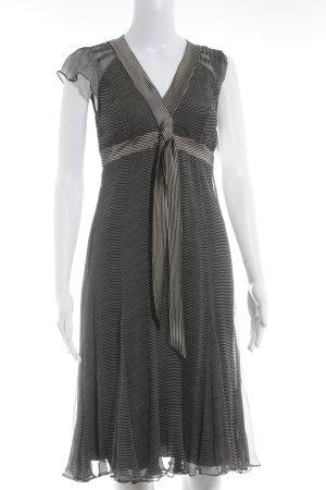 René Lezard A-Linien Kleid hellbeige-schwarz Streifenmuster Elegant