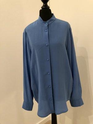 René Lezard Zijden blouse korenblauw