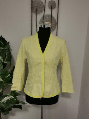 Rene Lezard Damen Tweed Blazer Jacket  hellgelb Größe 36 wie NEU