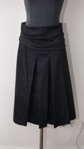 René Lezard Jupe à plis noir soie