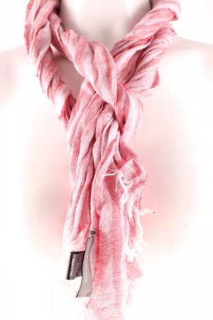 René Lezard Fringed Scarf red-white striped pattern casual look