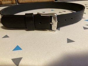René Lezard Leather Belt black-silver-colored