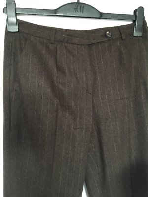 René Lezard Pantalone a pieghe marrone scuro-crema