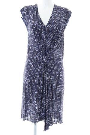 René Lezard Jerseykleid blau-weiß Allover-Druck Casual-Look